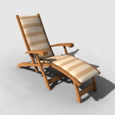 steamer chair lounger 3d model