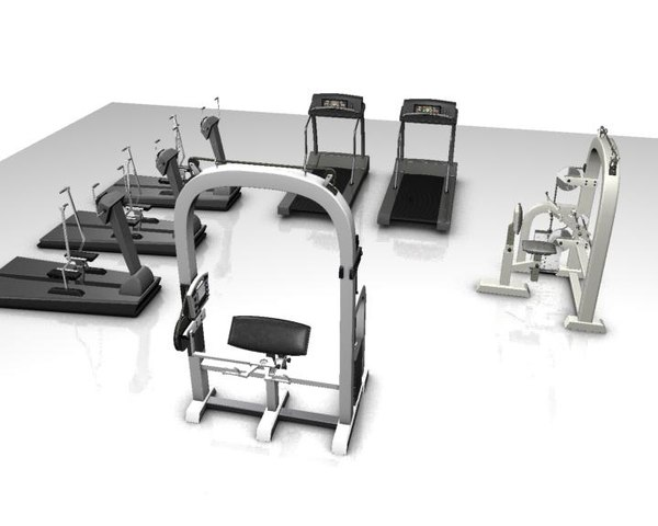 3ds max gymnasium treadmill walking machine
