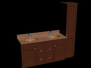 3d model of bathroom vanity set sink