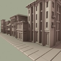 3ds max old town main street