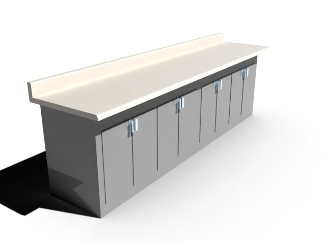 work bench narrow 3d model