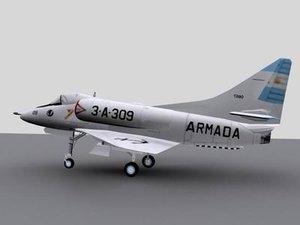 3d model argentina skyhawk malvinas