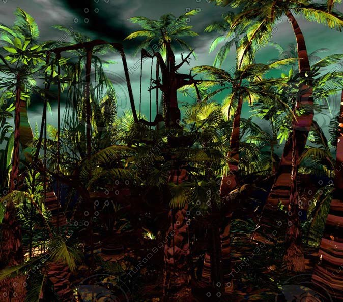3d model jungle palm trees