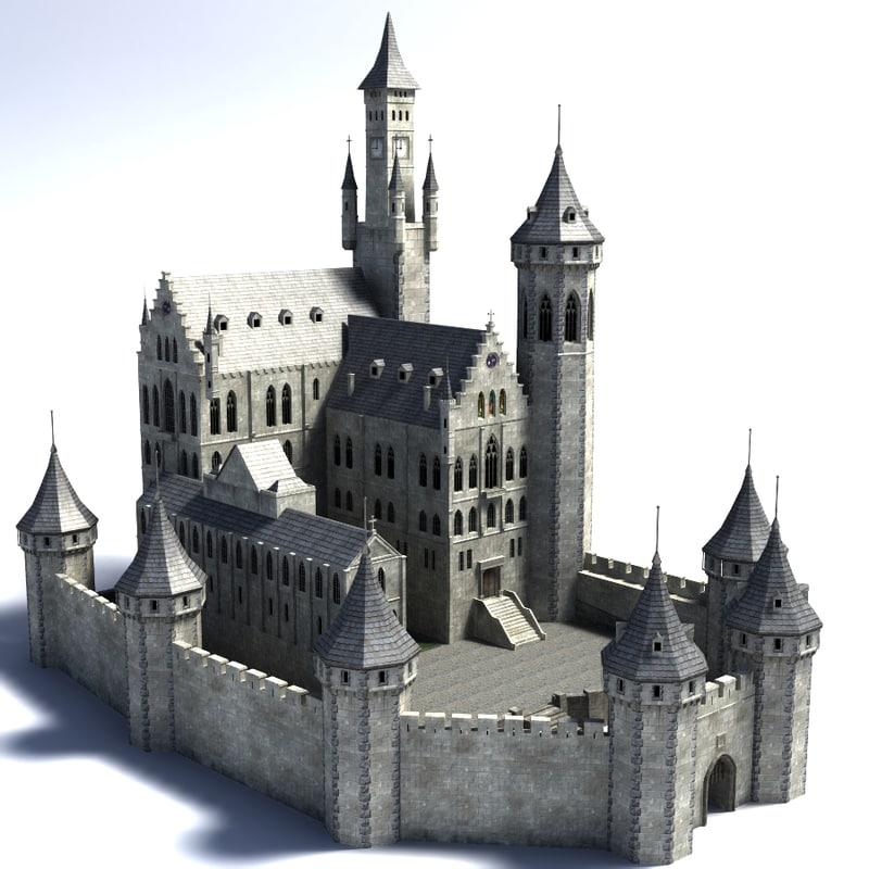 Fantasy castle 3d model for Castle design software