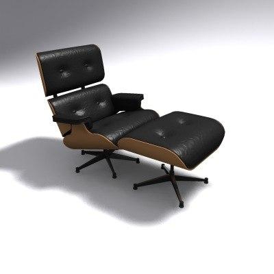 eames loungechair ottoman lounge chair 3d model