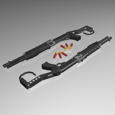 12 gauge automatic shotgun 3d model
