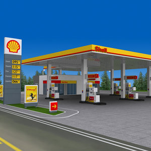 shell gas station pump 3d 3ds