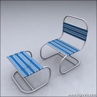 outdoor patio chair footrest 3d model