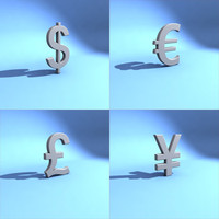global monetary symbols 3d model