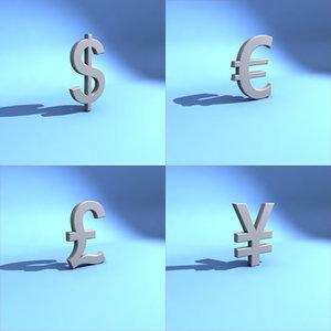 global monetary symbols 3d model