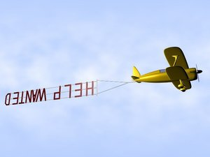 free biplane banner help wanted 3d model