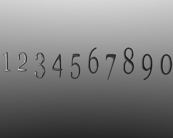 free numbers 1 2 3d model