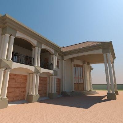 3d model designed roman house architecture