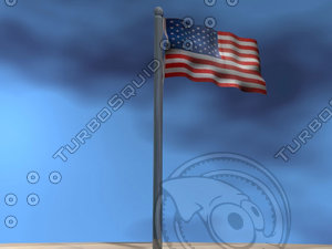 3d american flag model