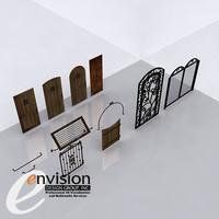 doors gates wood 3d model