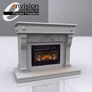3d precast fireplace unit -