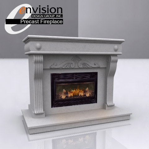 3d precast fireplace unit -
