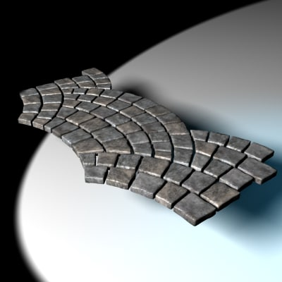 cobble stones fan pattern 3d model