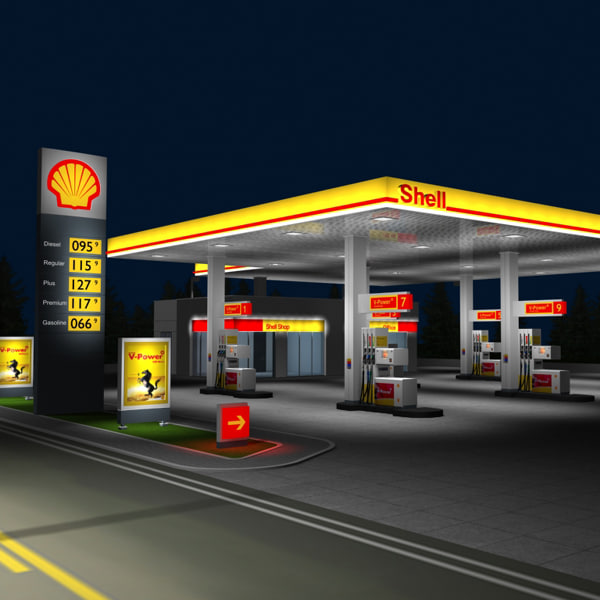 3d model of shell gas station night