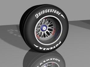 bbs f1 wheel tires 3d model