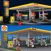 shell gas station day 3d model