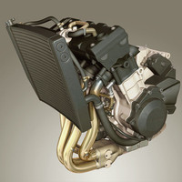 yamaha yzf engine r1 3d model
