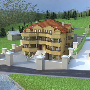 house pool backyard 3d model