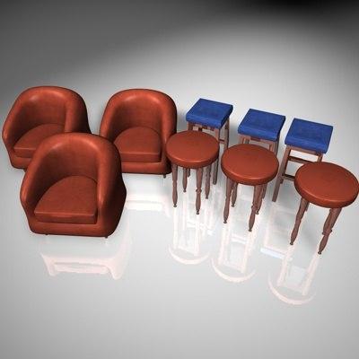 3ds max pub bar furniture