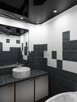 black and white bath room