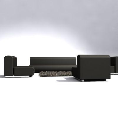 suzanne settee sofa set 3d model
