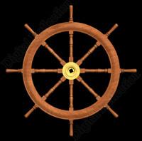 wood ships steering wheel 3d model