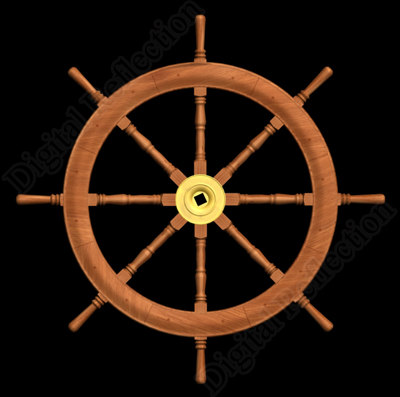 wood ships steering wheel 3d model