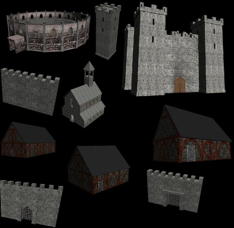 medieval town arena church 3d model