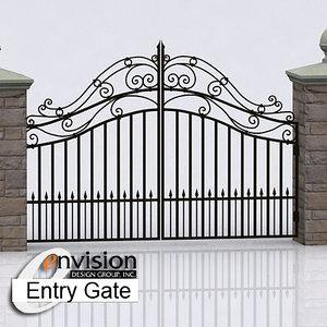 stone wall gate 3d model