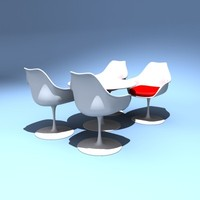 eero saarinen tables design chairs 3d model