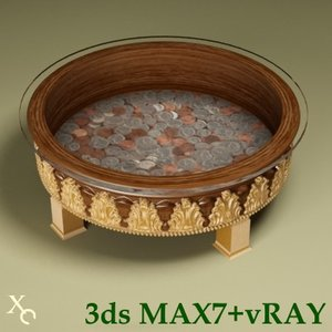 coffee table cutting 3d max