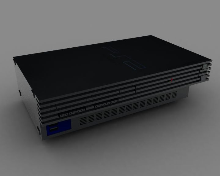 3d sony playstation 2 console model