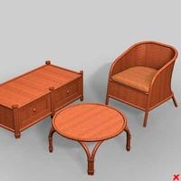 3d model wicker furniture