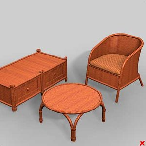 3d model wicker furniture