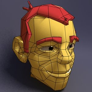 customize cartoon head faces 3d model
