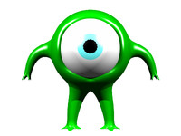 free 3ds mode one-eyed green alien distance