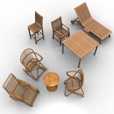 3d chairs 2 tables model