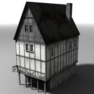 medieval townbuilding 3d model