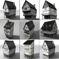 3d model of medieval townbuildings