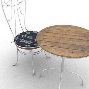 cafe chair table 3ds