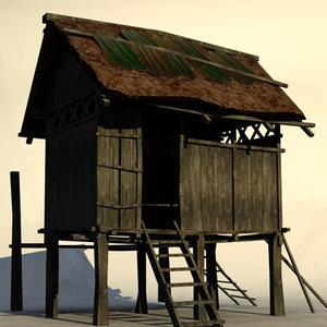 jungle hut 3d model