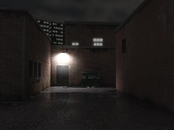 3d model alleyway scene city