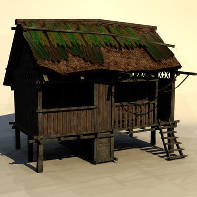 3d jungle hut