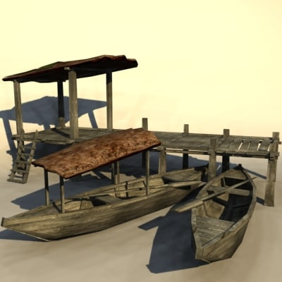 jungle pier boats 3d max
