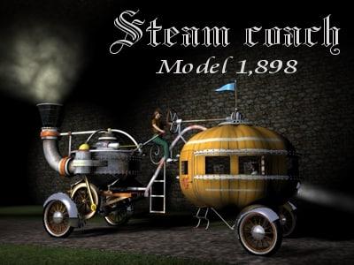 steam coach 1898 vehicle 3d model